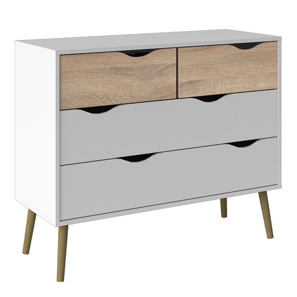 Freja Chest of 4 Drawers (2+2) in White and Oak